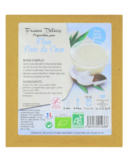 Préparation pour flan à la noix de coco sans sucre et sans gluten